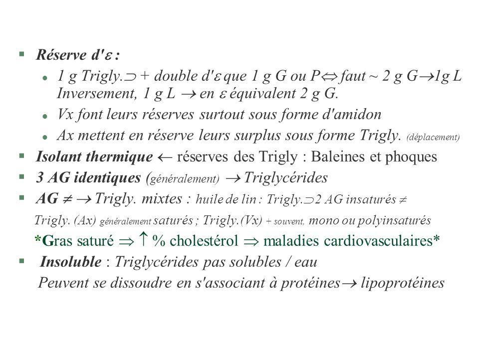Réserve d  : 1 g Trigly. + double d  que 1 g G ou P faut ~ 2 g G1g L Inversement, 1 g L  en  équivalent 2 g G.