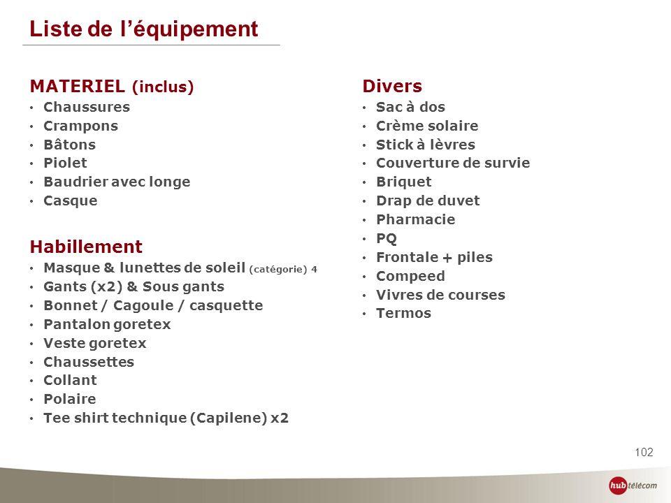 Liste de l'équipement MATERIEL (inclus) Divers Habillement Chaussures