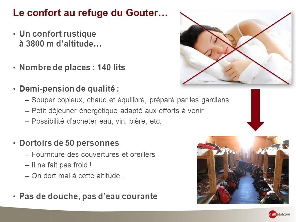 Le confort au refuge du Gouter…
