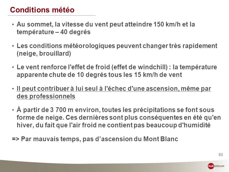 Conditions météo Au sommet, la vitesse du vent peut atteindre 150 km/h et la température – 40 degrés.