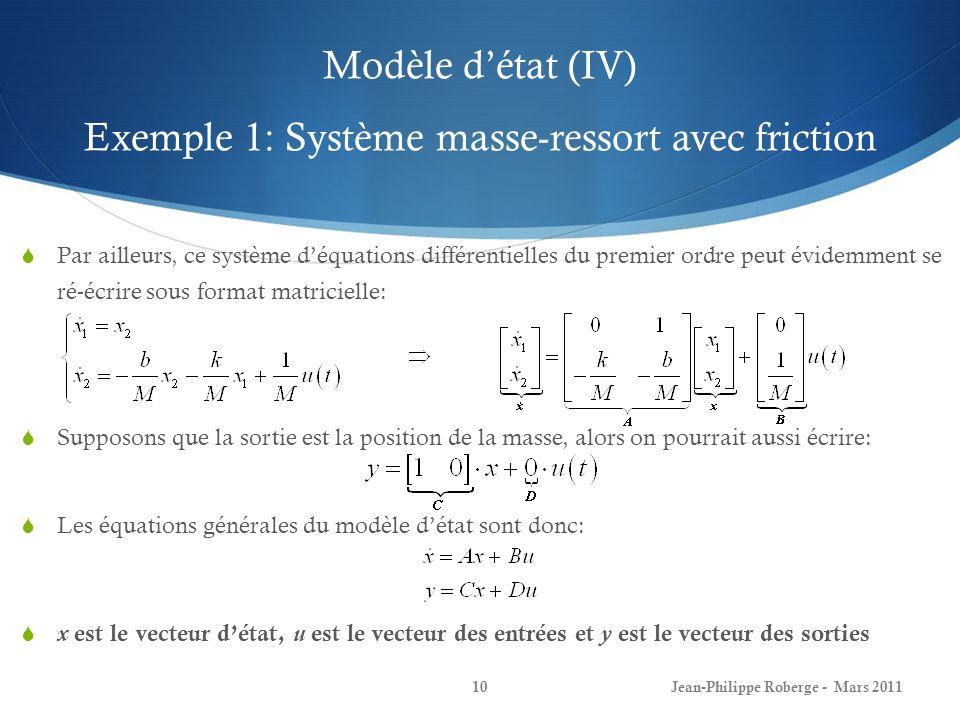 Modèle d'état (IV) Exemple 1: Système masse-ressort avec friction