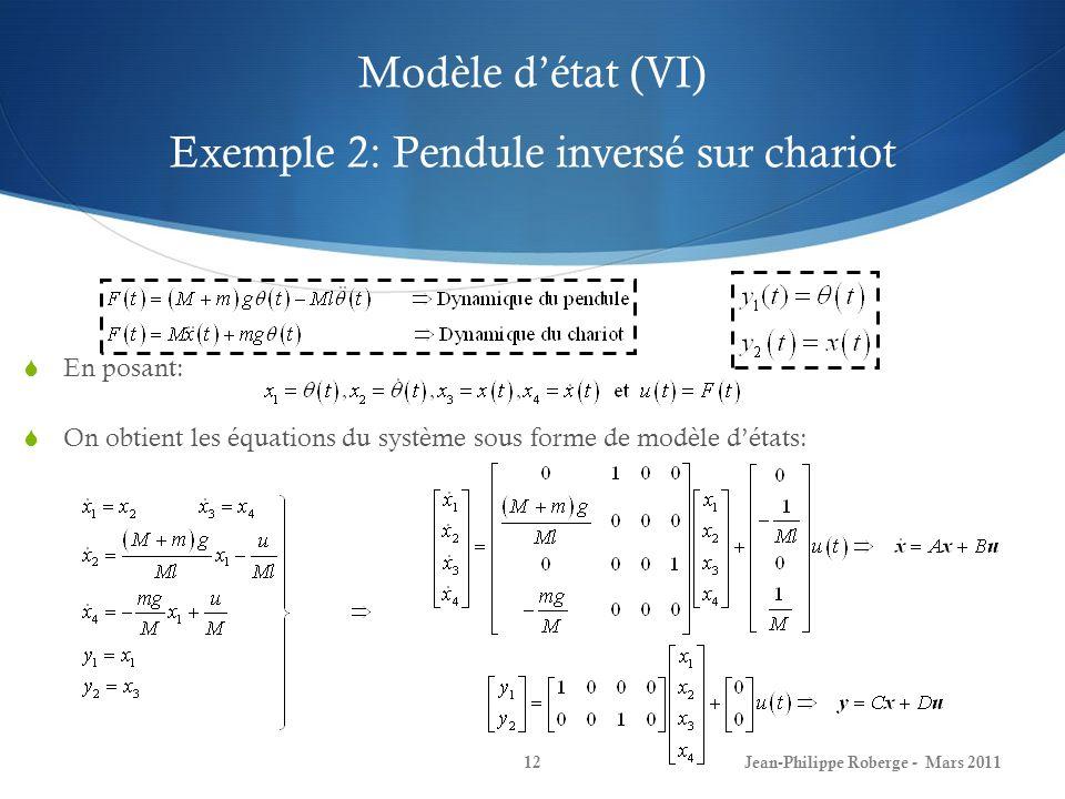 Modèle d'état (VI) Exemple 2: Pendule inversé sur chariot