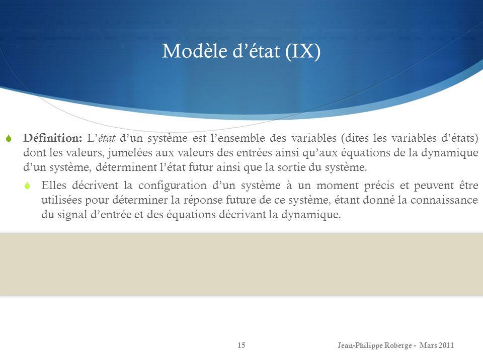 Modèle d'état (IX)