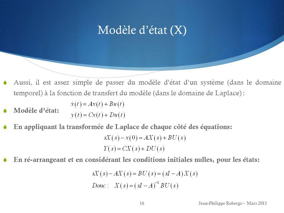 Modèle d'état (X)