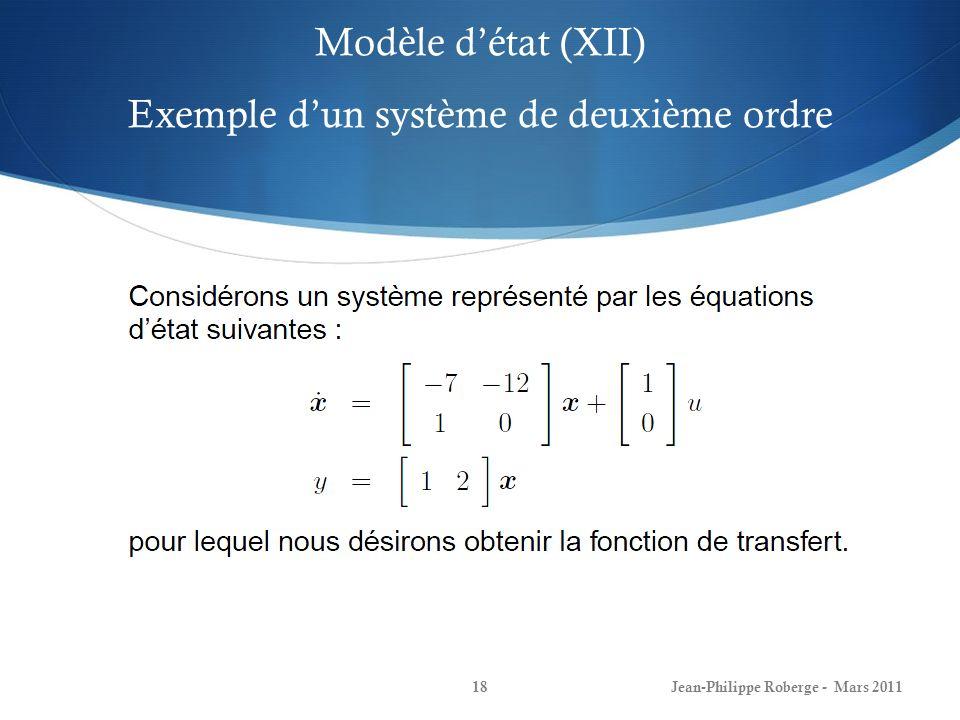 Modèle d'état (XII) Exemple d'un système de deuxième ordre