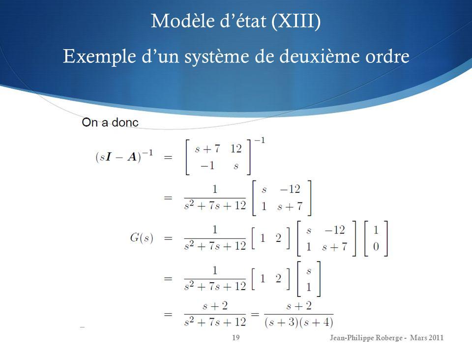 Modèle d'état (XIII) Exemple d'un système de deuxième ordre