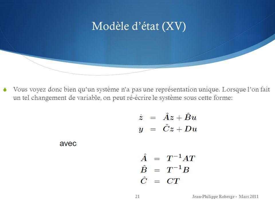 Modèle d'état (XV)