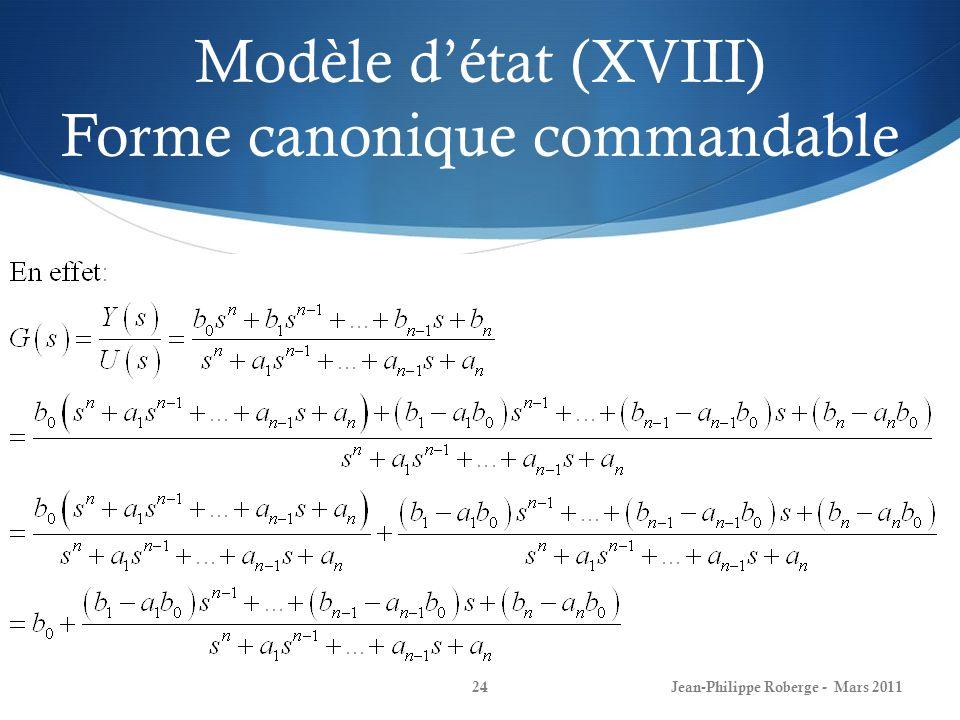 Modèle d'état (XVIII) Forme canonique commandable