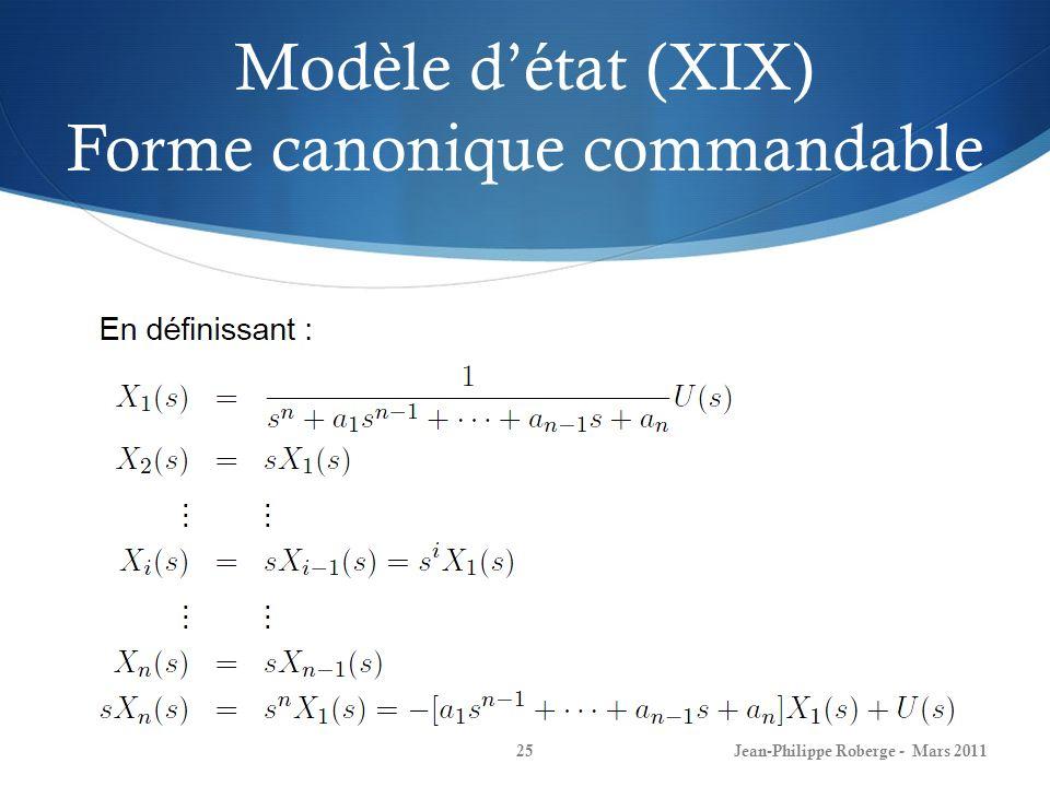 Modèle d'état (XIX) Forme canonique commandable