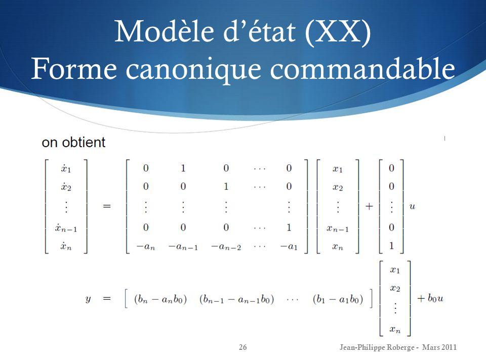 Modèle d'état (XX) Forme canonique commandable