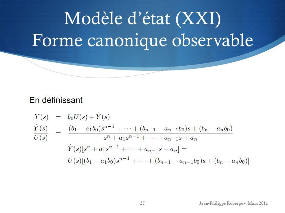 Modèle d'état (XXI) Forme canonique observable