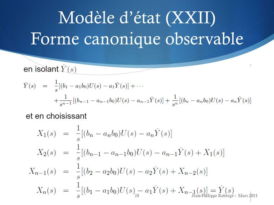 Modèle d'état (XXII) Forme canonique observable