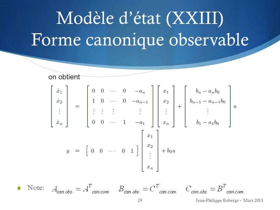 Modèle d'état (XXIII) Forme canonique observable