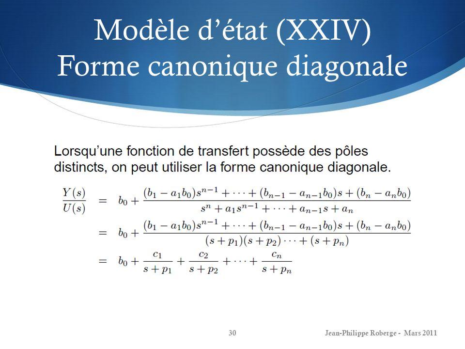 Modèle d'état (XXIV) Forme canonique diagonale
