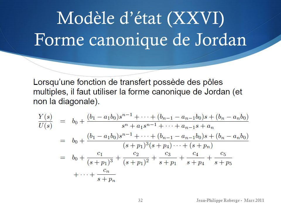 Modèle d'état (XXVI) Forme canonique de Jordan