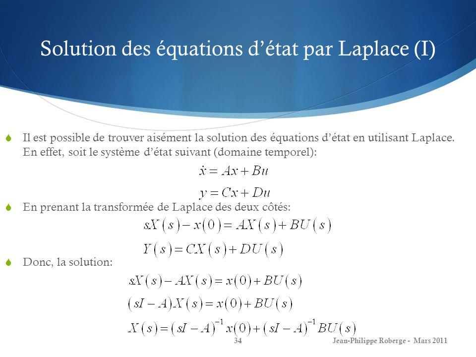 Solution des équations d'état par Laplace (I)