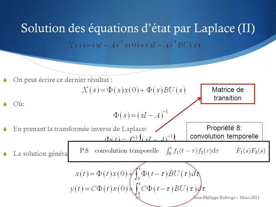 Solution des équations d'état par Laplace (II)