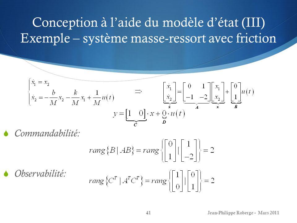 Conception à l'aide du modèle d'état (III) Exemple – système masse-ressort avec friction