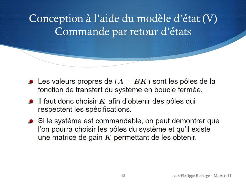 Conception à l'aide du modèle d'état (V) Commande par retour d'états