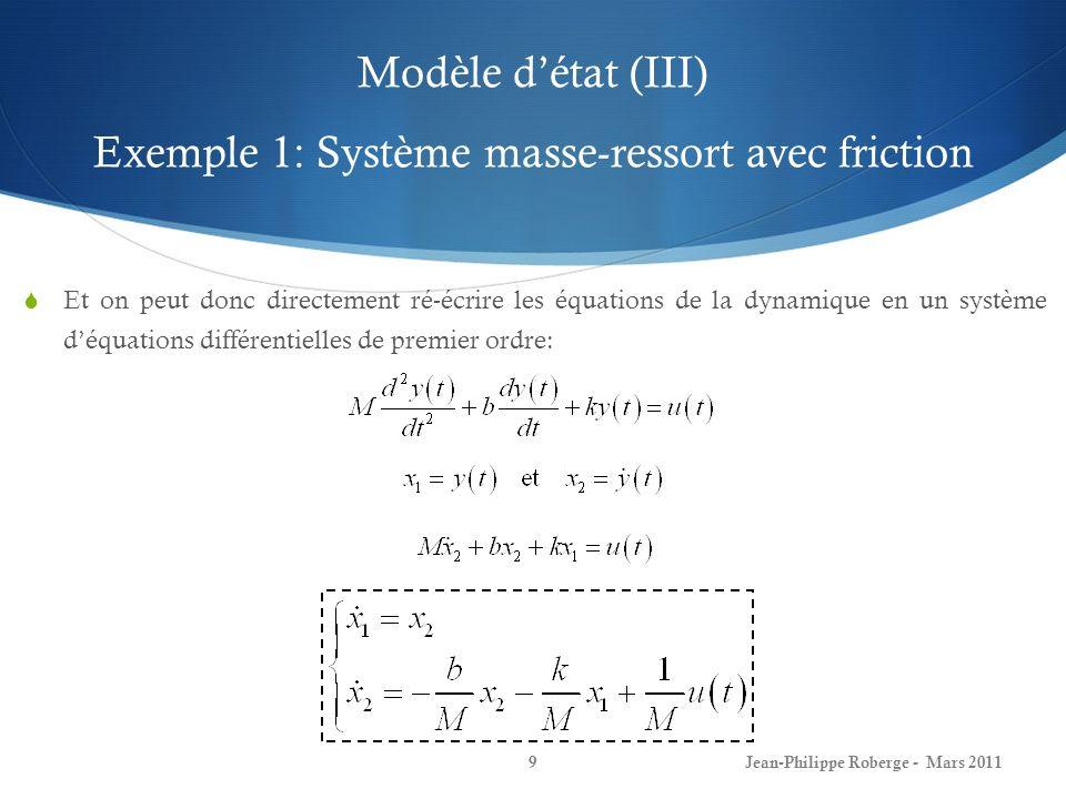 Modèle d'état (III) Exemple 1: Système masse-ressort avec friction