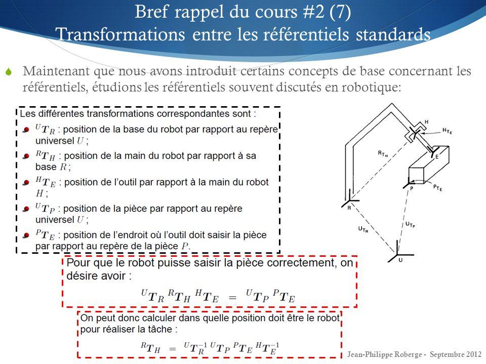 Bref rappel du cours #2 (7) Transformations entre les référentiels standards