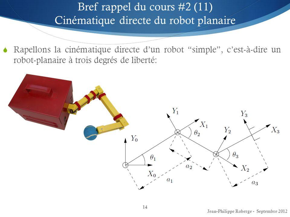 Bref rappel du cours #2 (11) Cinématique directe du robot planaire