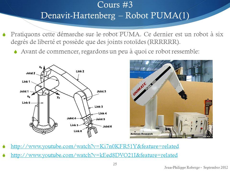 Denavit-Hartenberg – Robot PUMA(1)