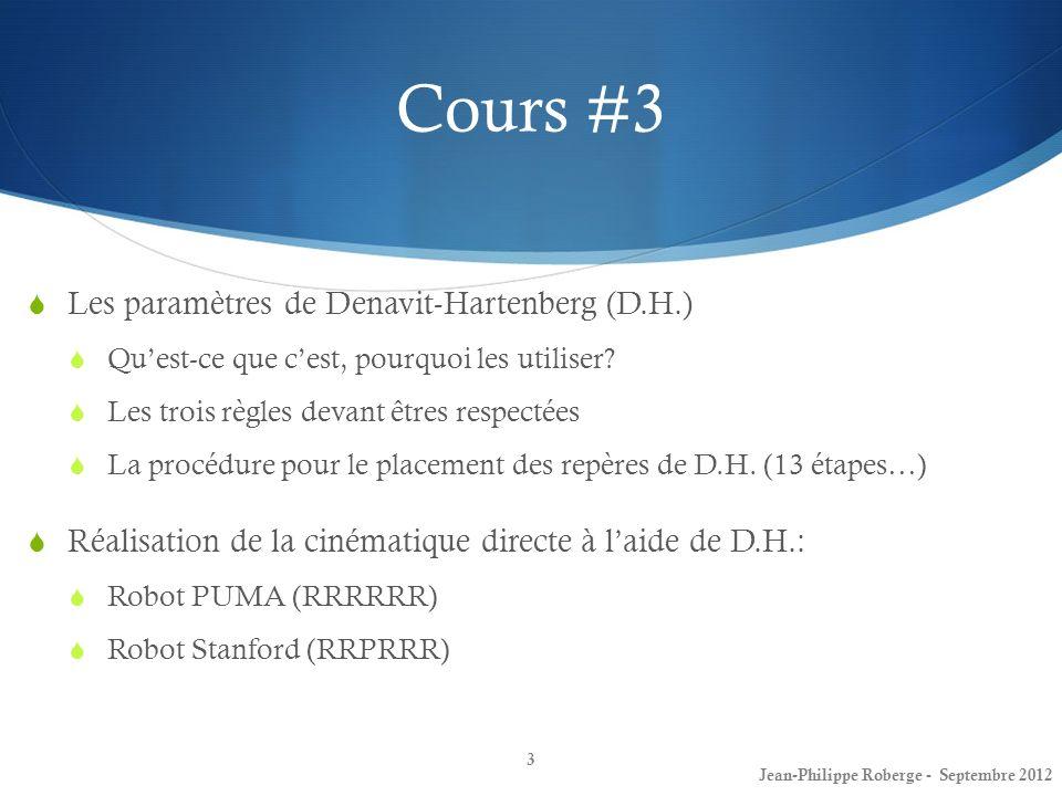 Cours #3 Les paramètres de Denavit-Hartenberg (D.H.)