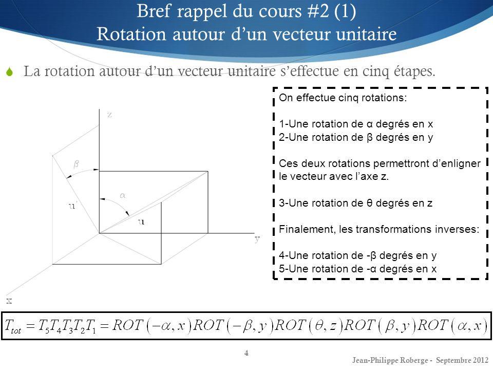 Bref rappel du cours #2 (1) Rotation autour d'un vecteur unitaire