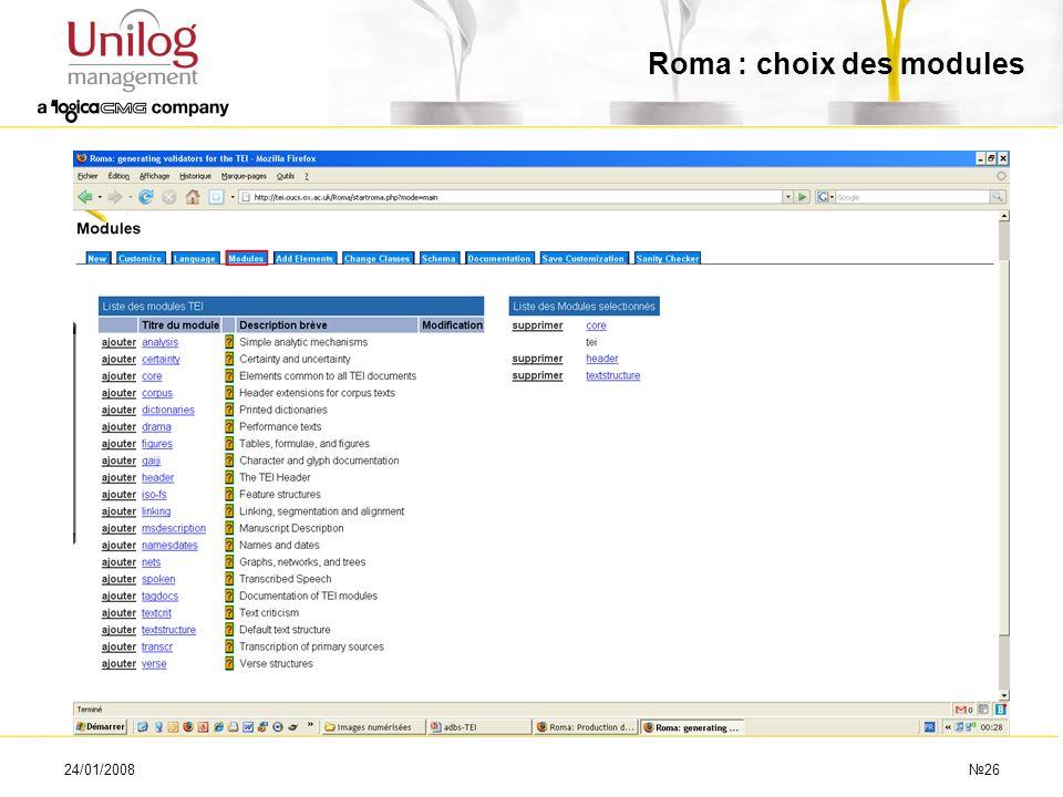 Roma : choix des modules