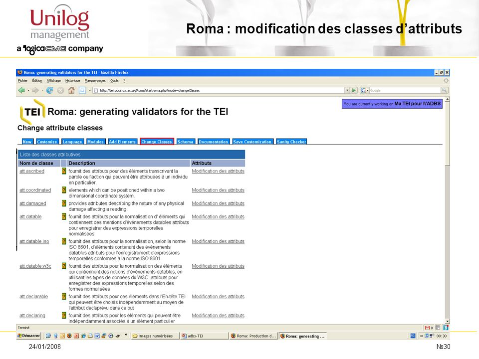 Roma : modification des classes d'attributs