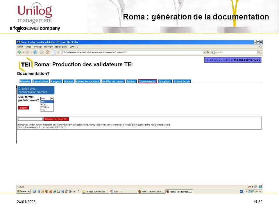 Roma : génération de la documentation