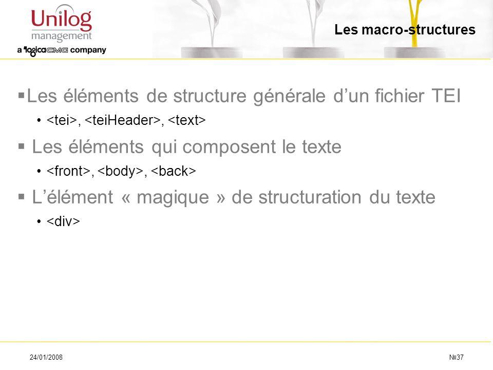 Les éléments de structure générale d'un fichier TEI