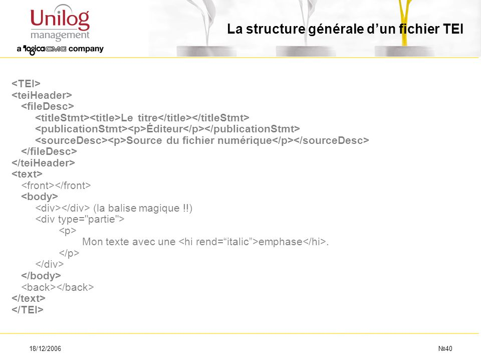 La structure générale d'un fichier TEI
