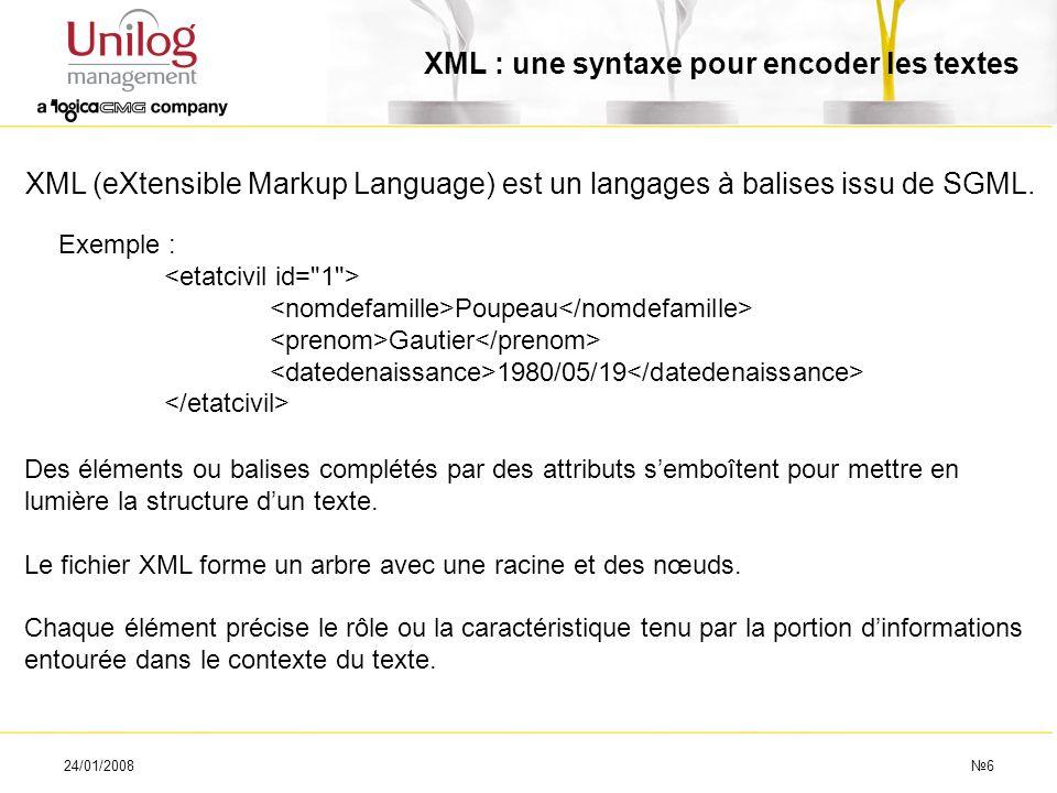 XML : une syntaxe pour encoder les textes