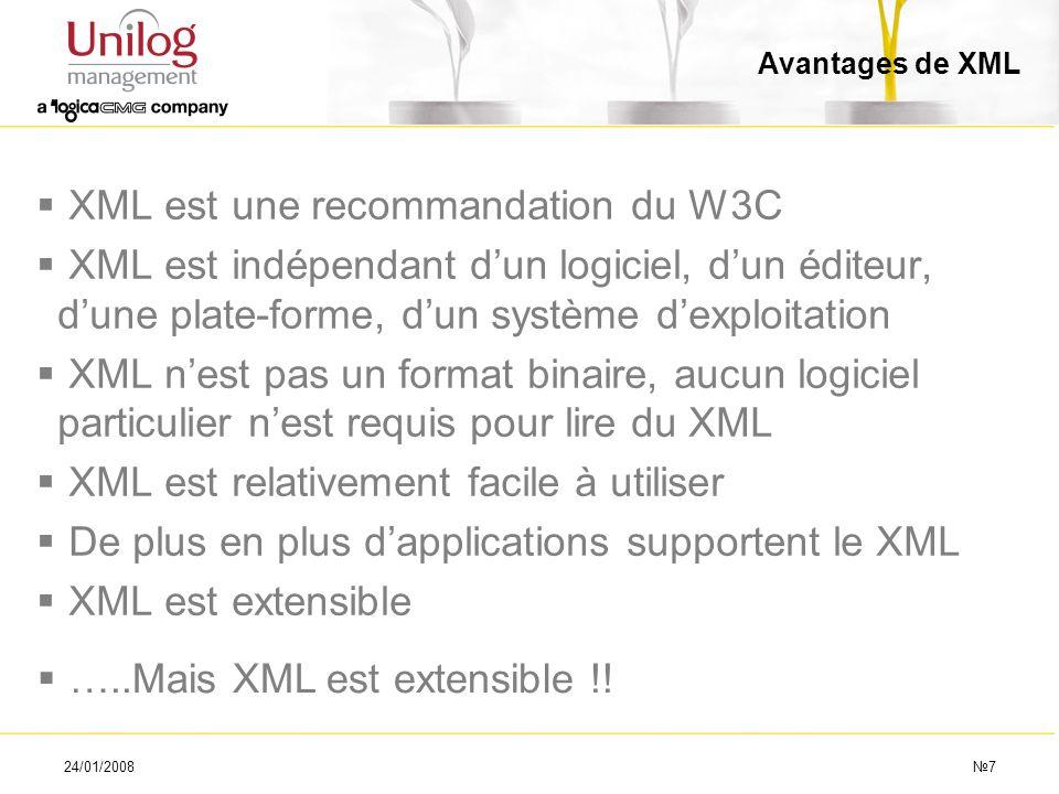 XML est une recommandation du W3C