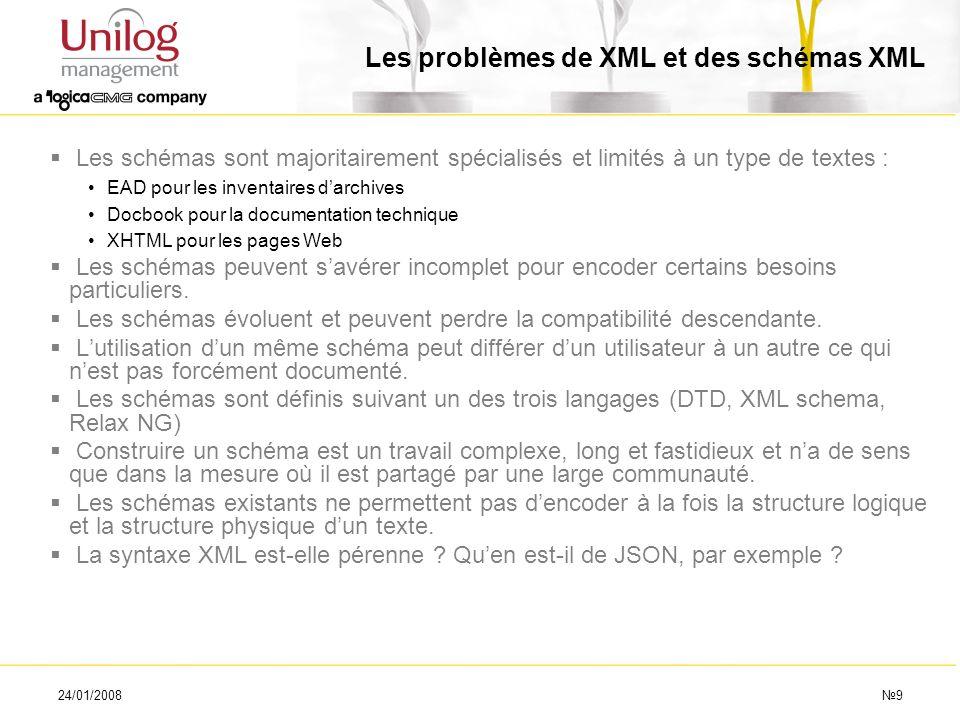 Les problèmes de XML et des schémas XML