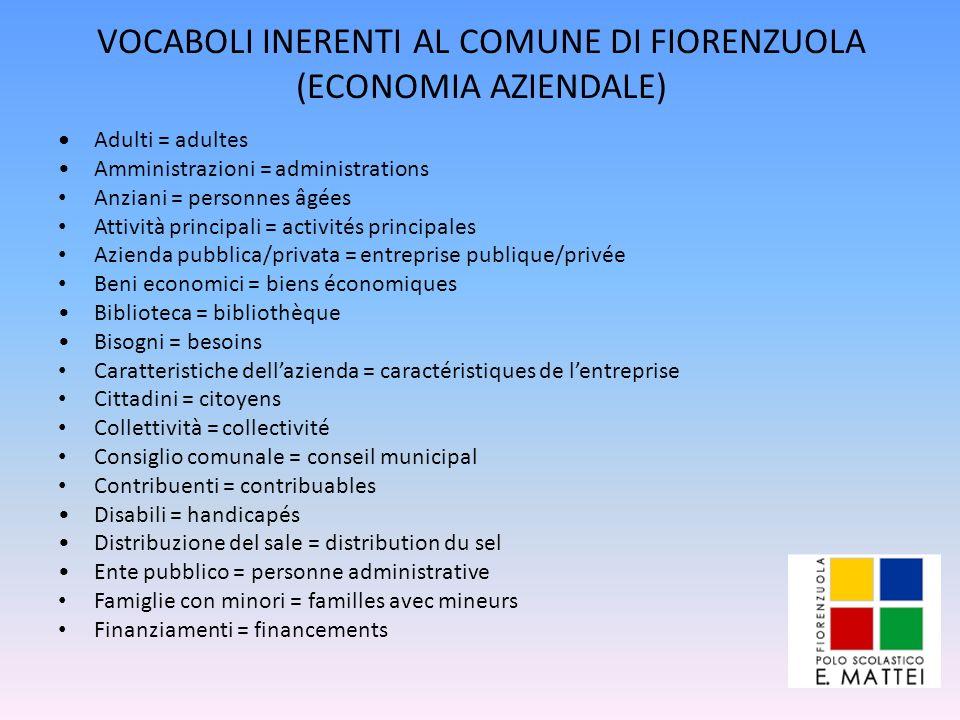 VOCABOLI INERENTI AL COMUNE DI FIORENZUOLA (ECONOMIA AZIENDALE)