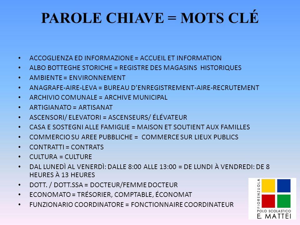 PAROLE CHIAVE = MOTS CLÉ