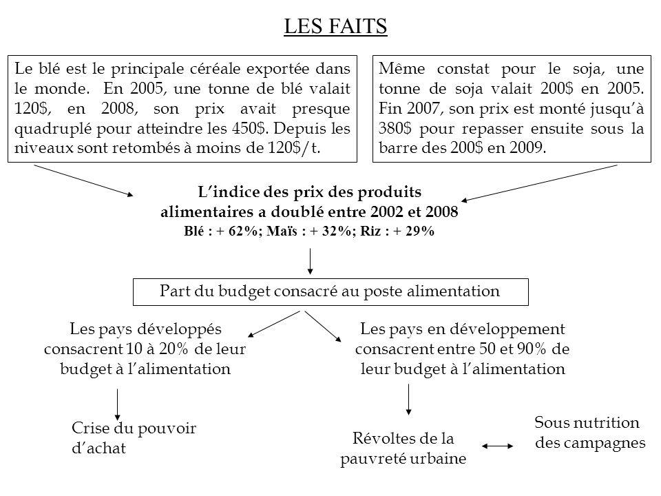 Blé : + 62%; Maïs : + 32%; Riz : + 29%