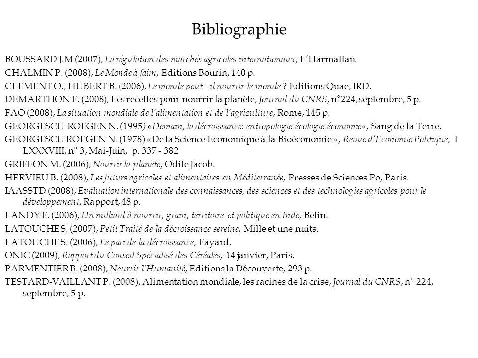 Bibliographie BOUSSARD J.M (2007), La régulation des marchés agricoles internationaux, L'Harmattan.