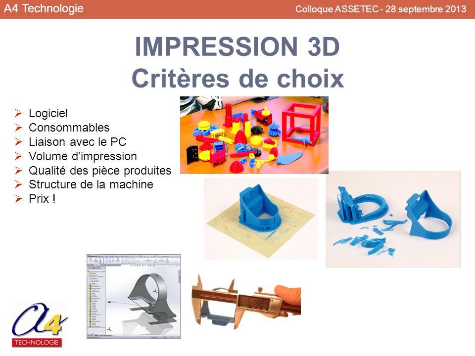 IMPRESSION 3D Critères de choix