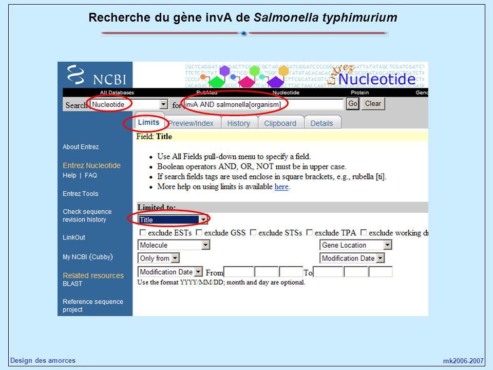 Recherche du gène invA de Salmonella typhimurium