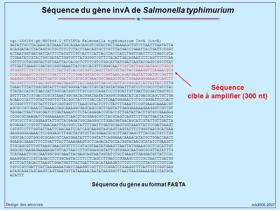 Séquence du gène invA de Salmonella typhimurium