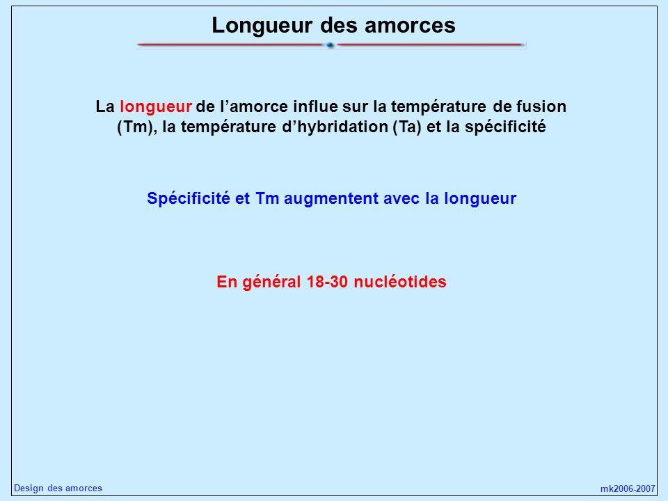 Longueur des amorcesLa longueur de l'amorce influe sur la température de fusion (Tm), la température d'hybridation (Ta) et la spécificité.
