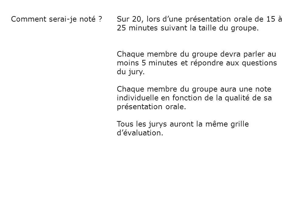 Comment serai-je noté Sur 20, lors d'une présentation orale de 15 à 25 minutes suivant la taille du groupe.