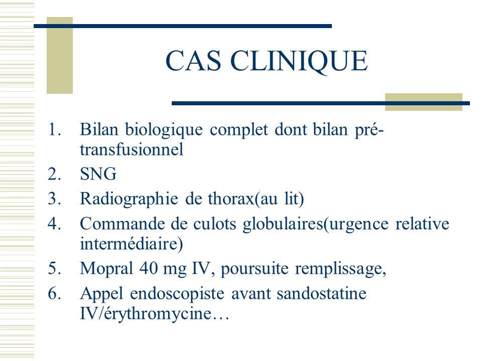 CAS CLINIQUE Bilan biologique complet dont bilan pré-transfusionnel