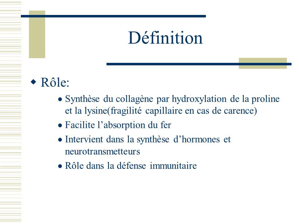 Définition Rôle: Synthèse du collagène par hydroxylation de la proline et la lysine(fragilité capillaire en cas de carence)