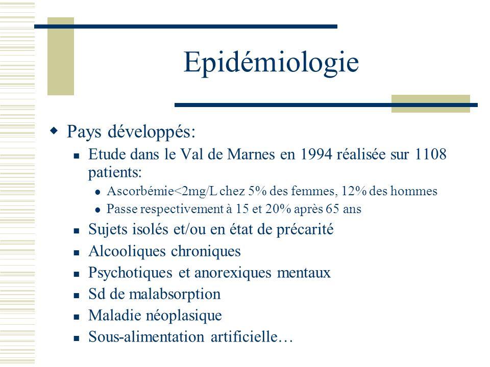 Epidémiologie Pays développés: