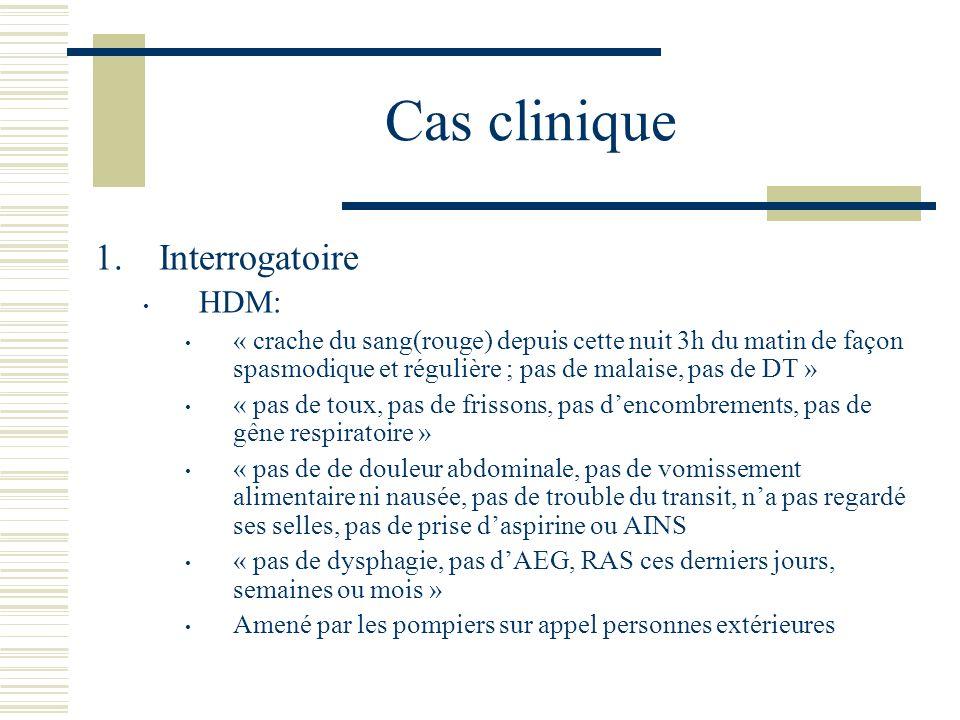 Cas clinique Interrogatoire HDM: